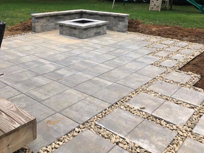 Patio and Firepit w/river-stone accents