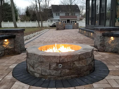 Fire pit and walkway
